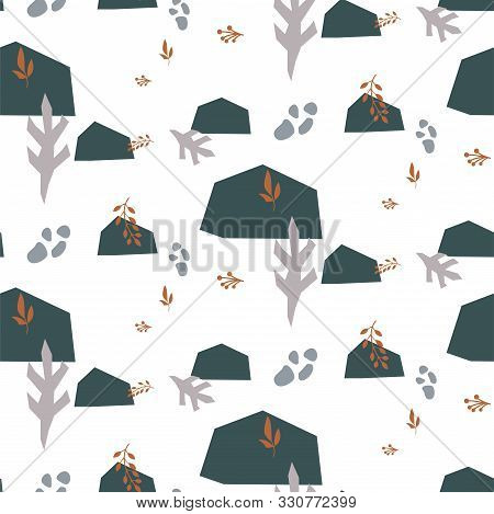 Terra Abstract Shapes Seamless Pattern. Papercut Repeat Background For Wrap, Textile And Print Desig