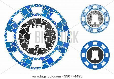 Bulwark Casino Chip Composition Of Ragged Elements In Various Sizes And Color Tinges, Based On Bulwa