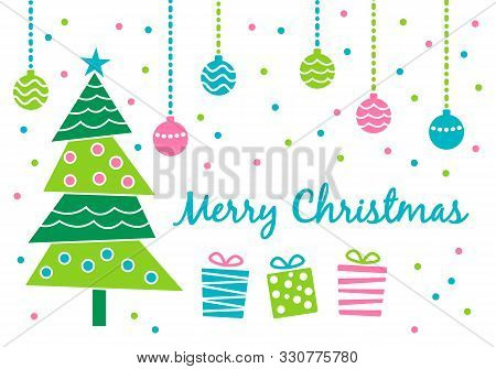 Merry Christmas Greeting Card With Cute Decorated Christmas Tree, Various Gift Presents And Hanging