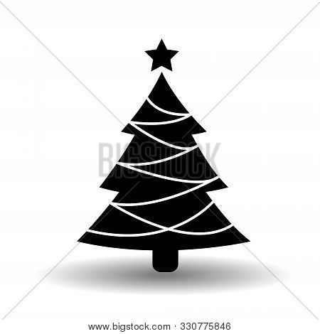 Christmas Tree Line Icon. Black And White Ecorated Conifer In Solid Flat Style With Star. Simple Eps