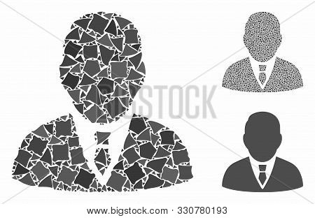 Boss Mosaic Of Abrupt Elements In Different Sizes And Shades, Based On Boss Icon. Vector Abrupt Dots