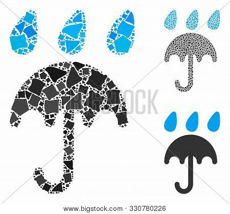 Rain Protection Umbrella Mosaic Of Abrupt Parts In Variable Sizes And Color Tints, Based On Rain Pro
