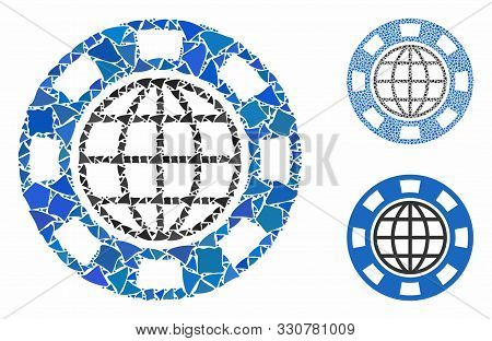 Global Casino Chip Mosaic Of Bumpy Pieces In Variable Sizes And Shades, Based On Global Casino Chip