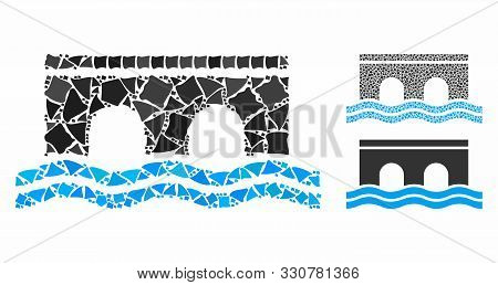 Bridge Composition Of Bumpy Parts In Various Sizes And Color Tinges, Based On Bridge Icon. Vector Bu