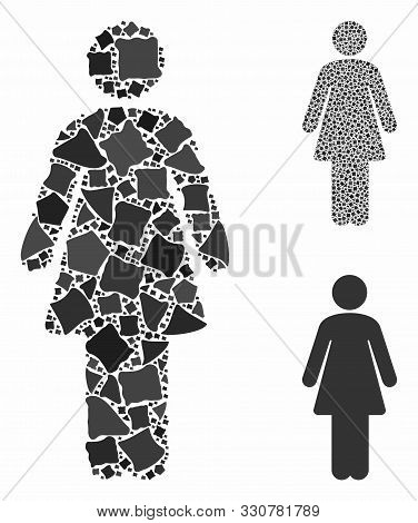 Woman Mosaic Of Joggly Pieces In Different Sizes And Color Hues, Based On Woman Icon. Vector Trembly