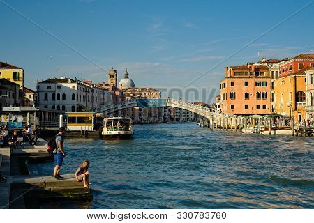 Venice, Italy - June 2, 2019: View Of The Grand Canal At The Santa Lucia Train Station; A Water Bus