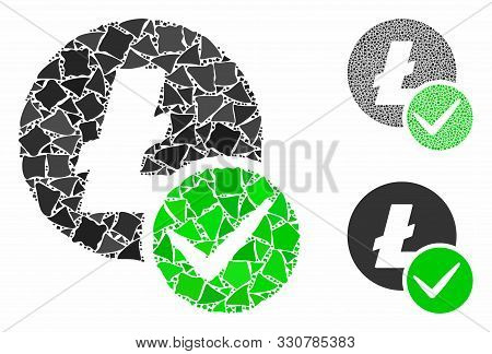 Valid Litecoin Mosaic Of Inequal Elements In Various Sizes And Shades, Based On Valid Litecoin Icon.