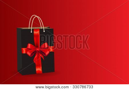 poster of Celebration bag Sales Black Friday on a red background. bag Black Friday. black bag realistic on a red background for logo, web, mobile app and UI. bag Black friday with gold realistic bow on the black background. bow realistic. Black Friday