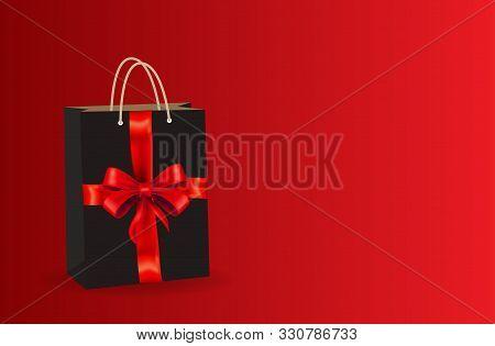 Celebration Bag Sales Black Friday On A Red Background. Bag Black Friday. Black Bag Realistic On A R