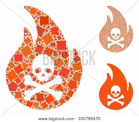 Hell Fire Composition Of Raggy Items In Different Sizes And Color Tones, Based On Hell Fire Icon. Ve