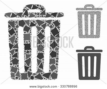 Dustbin Mosaic Of Ragged Pieces In Different Sizes And Color Hues, Based On Dustbin Icon. Vector Rag