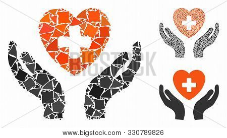 Cardiology Care Hands Mosaic Of Irregular Parts In Various Sizes And Color Tinges, Based On Cardiolo