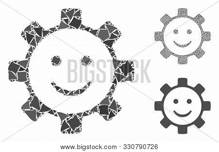 Gear Smile Smiley Mosaic Of Abrupt Elements In Various Sizes And Color Tones, Based On Gear Smile Sm