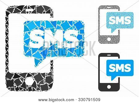 Phone Sms Mosaic Of Tuberous Elements In Various Sizes And Color Tones, Based On Phone Sms Icon. Vec