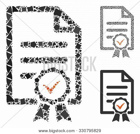 Certified Composition Of Uneven Pieces In Various Sizes And Shades, Based On Certified Icon. Vector