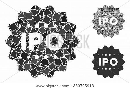 Ipo Token Mosaic Of Tremulant Elements In Various Sizes And Color Hues, Based On Ipo Token Icon. Vec