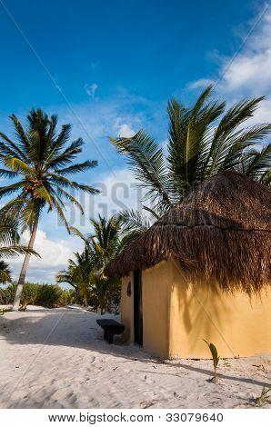 Cabanas Huts On White Sand Beach In Mexico Tulum Caribbean Yucatan
