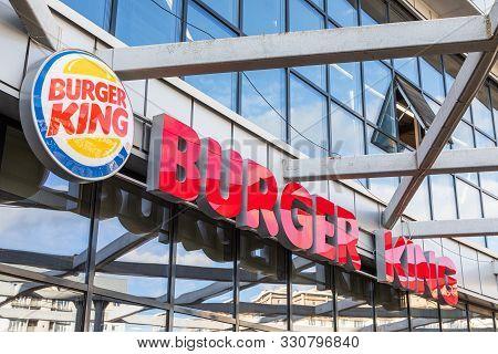 Minsk, Belarus - May 2019. Closeup Of Burger King Fastfood Cafe Logo