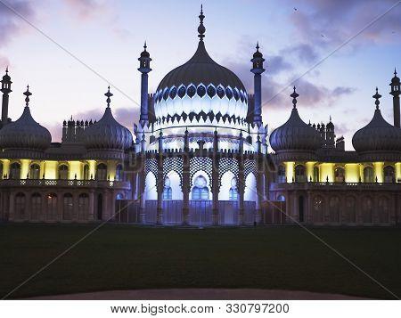 Brighton, England- October, 4 2017: A Floodlit Brighton Pavilion At Dusk In England