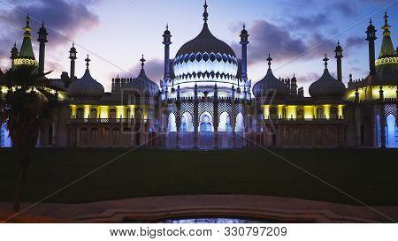 Brighton, England- October, 4 2017: Night Shot Of The Former Royal Residence Of Brighton Pavilion In