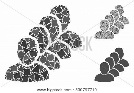 People Queue Mosaic Of Bumpy Items In Various Sizes And Shades, Based On People Queue Icon. Vector R