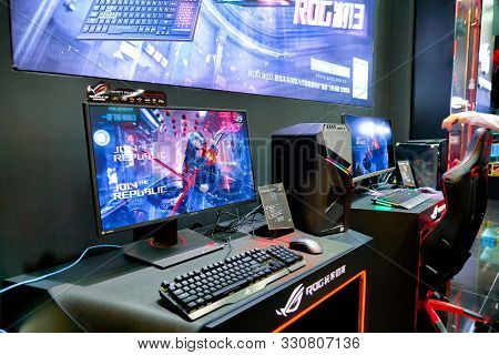 SHENZHEN, CHINA - CIRCA APRIL, 2019: interior shot of Asus ROG Store in Shenzhen. Republic of Gamers is a brand used by Asus.
