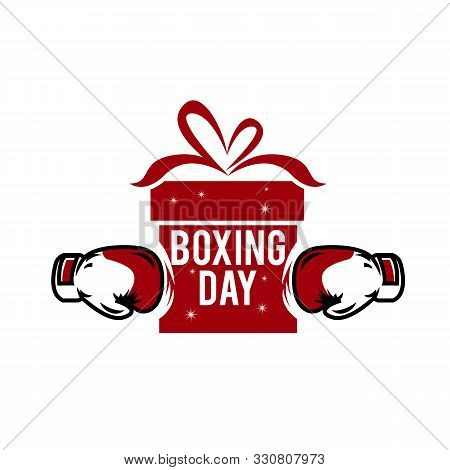 Creative Top View Flat Lay Promotion Composition Boxing Day Sale Text On Lightbox White Background C