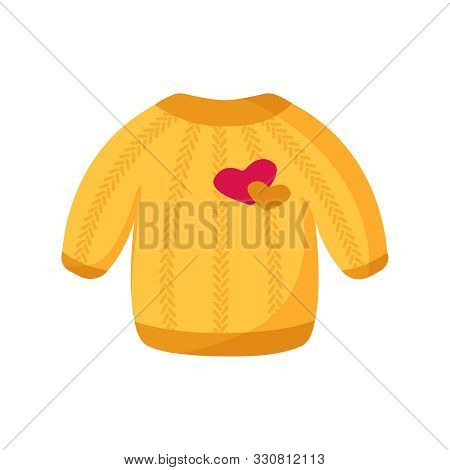 Cute Yellow Sweater For Valentine Day Card - Cartoon Warm Pullover, Clothes With Heart Patch, Isolat