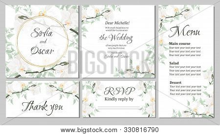 Vector Floral Template For Wedding Invitations. Orchid Flowers, Round Gold Frame, Green Plants, Leav