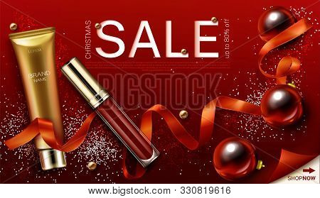 Cosmetics Christmas Sale Banner. Lip Gloss And Foundation Makeup Gifts, Liquid Lipstick Make Up Beau
