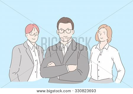 Office Workers Team Concept. Confident Top Managers, Reliable Colleagues Wearing Formal Style Clothe
