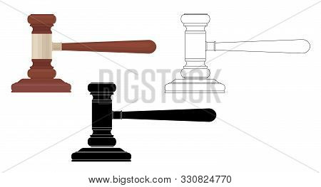 Set Of Judges Hammers. Flat, Silhouette And Contour Illustration. Hammer For Bidding. The Verdict Of