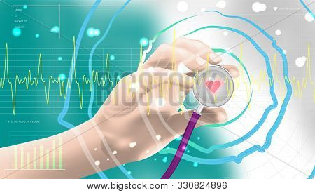 Medical Technology Network Concept. Modern Methods Of Diagnostics Of The Heart. Cardiologist Medicin
