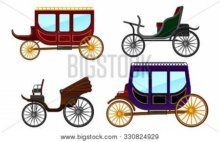 Carriage Vintage Vehicles With Old Wheels Vector Set