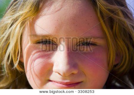 Full Frame Head Shot Of 7 Year Old Girl