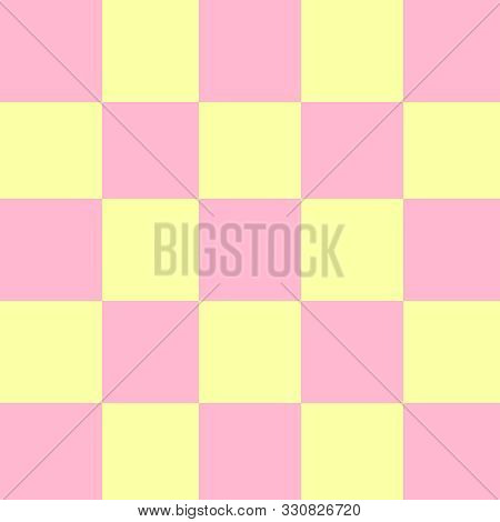 Square Pink And Yellow Pastel Color For Background, Seamless Checker Yellow And Pink Pastel Soft Pat