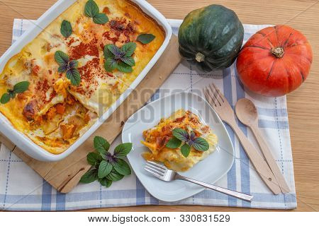 Home Made Lasagne With Pumpkin And Cheese