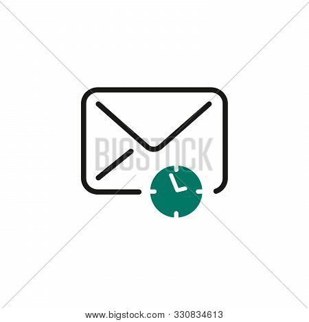 Email Icon With Timer Or Clock Sign. Email Icon And Countdown, Deadline, Schedule, Planning Concept.