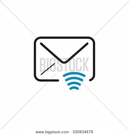 Mail Envelope With Wifi Icon. Send Email. Stock Vector Illustration Isolated On White Background.