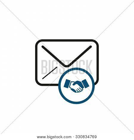 Envelope With Handshake, Agreement Correspondence. Stock Vector Illustration Isolated On White Backg