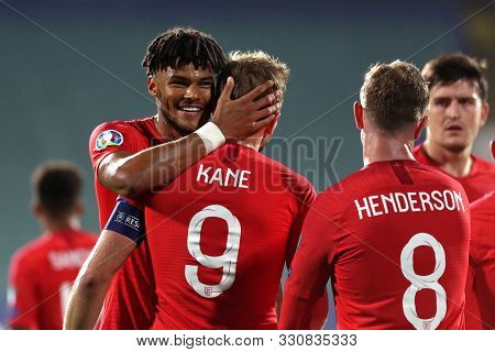 Sofia, Bulgaria - 14 October 2019: England Team Celebrates Scoring Their Sixth Goal Against Bulgaria