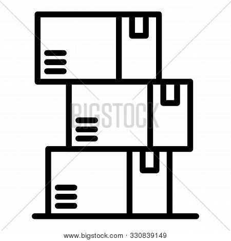Warehouse Boxes Icon. Outline Warehouse Boxes Vector Icon For Web Design Isolated On White Backgroun