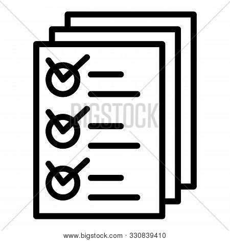 Inventory Papers Icon. Outline Inventory Papers Vector Icon For Web Design Isolated On White Backgro