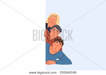 Surprising Discovery, Peeking Concept. Amazed Friends Spying And Hiding Behind Wall, Young Woman And