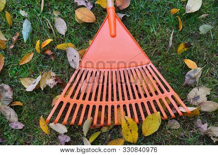 Symbol Of Autumn Gardening: Rakes And Leaves. Chores And Errands.