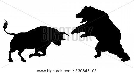 poster of A bear versus a bull standing for the bears versus bulls financial stock market metaphor