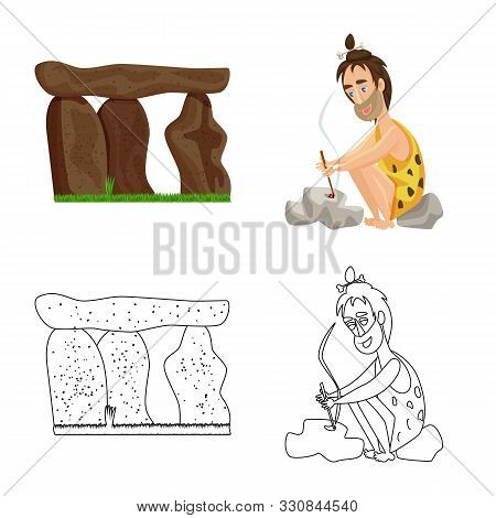 Vector Illustration Of Evolution And Prehistory Symbol. Collection Of Evolution And Development Stoc