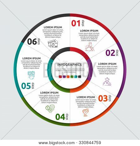 Vector Flat Template Circle And Sector Infographics. Business Concept With 6 Sectors. Six Steps For