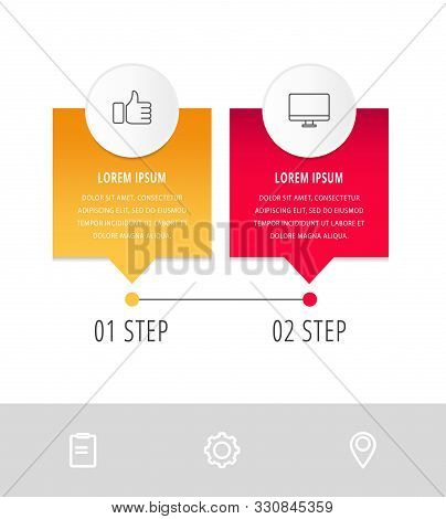 Vector Modern Infographic Flat Template Pin For Two Paper Label, Diagram, Graph, Presentation. Busin