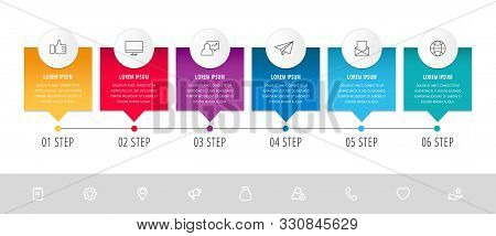 Vector Modern Infographic Flat Template Pin For Six Paper Label, Diagram, Graph, Presentation. Busin